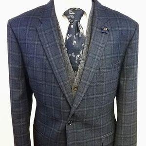 Tommy Hilfiger Windowpane Plaid Wool Blazer 48L